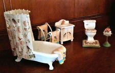 Miniature Floral and Birds Bathroom Set Dollhouse or Tabletop Decor 5 Pc Set