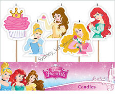 DISNEY PRINCESS CANDLES BIRTHDAY PARTY GIRLS CAKE TOPPER  PINK GOLD LICENSE 5PK