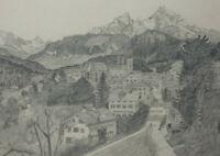 BLEISTIFT ZEICHNUNG Berchtesgarden Watzmann vor 1910 ca. 23 x 19 cm Karl Ehlers