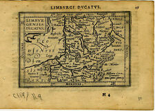 1609 Genuine Antique miniature map of Belgium, Liege. by A. Ortelius