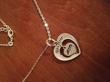 Heart Necklace & Charm Silver Tone Mother - Mom & Daughter Heart in