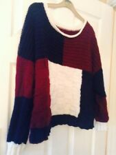 New Ladies Multi Coloured Hand Knitted Jumper Size M / L (UK)