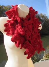 Red Shell Infinity Scarf Handmade Crochet Knit Neckwarmer