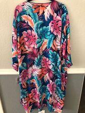 LARGE LuLaRoe SHIRLEY blue pink aqua cardigan kimono wrap hawaiian tropical NWT