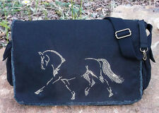 "Dressage Rhinestudded Equestrian 16"" Canvas  Messenger Bag New"