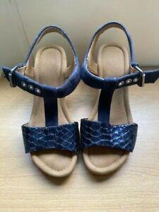 Ladies Navy Gabor Wedge Heel Sandal - Size 6