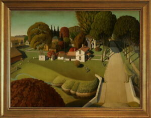 Classic Framed Grant Wood Birthplace of Herbert Hoover Giclee Canvas Print
