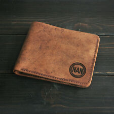 Personalized Gift for Father Monogram Men Wallet Engraved Bifold Leather Wallet