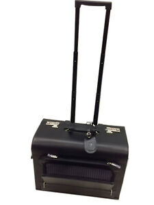 REAL COWHIDE Leather Pilot case with TRolley & Wheels  Black colour Quindici Bra