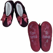 Faceplant Dreams Too Tired To Adult Red Wine Bow Slippers Footsies Medium