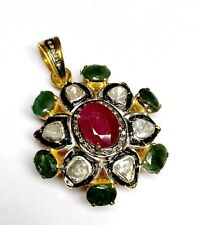 Antique Victorian Pendant With Emerald Ruby Rose Cut Diamond Nice Jewelry
