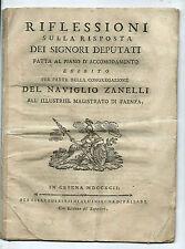 Riflessioni Deputati Congregazione Canale Naviglio Zanelli Faenza Adriatico 1792