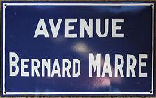 Old french enamel steel street signe plaque avenue bernard marre-extrêmement rare