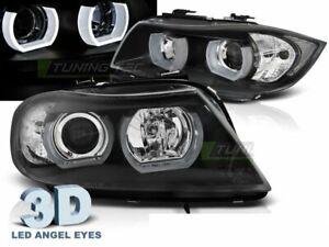 Angel Eyes Coppia di Fari Lenticolari per BMW E90/E91 2005-2008 3D U-Type Neri L