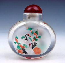 Peking Glass Inside Reverse Hand Painted Cranes Pine Tree Snuff Bottle #01021605