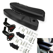 2x Foldable Car Seat Armrest Left+Right Arm Bracket Foam Black w/ Clamp fittings