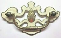 """Drop Bail 1900s Pull Handle Pineapple White Paint on Brass 3"""" Centers 1 Antique"""