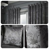 Curtina Damask Eyelet Curtains Ring Floral Grey Window Ready Made Drapes Cushion