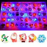 Christmas Flashing LED Cartoon Rings Party Jewelry Light Up Finger Toys for Kids