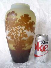 Genuine Emile Galle Multi-layer Cameo Glass Vase, 1904-1906, Signed, Lake Sunset