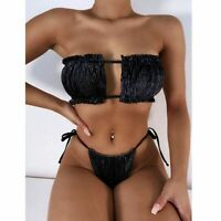Sexy Women Bikini Set Micro Bikini Black Swimsuit Women Swimwear Thong Swimsuits