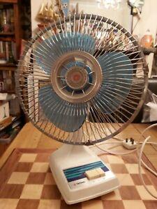 "Vintage 1970s Electric Oscillating Tatung Blue 3 Blade 11"" Desk Fan DS-9C Taiwan"