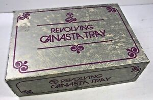 Vintage Revolving Canasta Tray Playing Cards Marbled Coloring