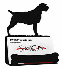 Swen Products Wirehaired Pointing Griffon Dog Black Metal Business Card Holder