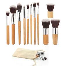 11pcs Natural Bamboo Makeup Brushes Foundation Blending Brush Tool Set CO