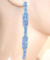 ORECCHINI argento  azzurro celeste pendenti donna cristalli strass cerimonia L10