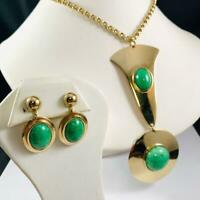 Vintage Whiting & Davis Glass Jade Cabochon Necklace and Clip Earrings Gold Tone
