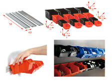 Tool board Wall Mounted Rail + 4 sizes Storage Bins 19pcs Warehouse/Garage Shelf