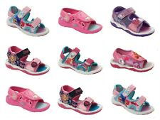 GIRLS BRANDED CHARACTER FLAT BEACH SPORTS WALKING SUMMER SANDALS UK SIZE 5-12