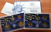 2003 US Mint ANNUAL 10 Coin Proof Set with Original Box and COA As Issued