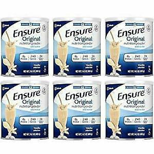Ensure Original Vanilla Nutrition Powder, 6 Pack, 14OZ Cans EXP:06/01/2021 - NEW