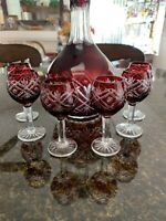 BOHEMIAN 6 CRYSTAL RUBY RED WINE CORDIAL & DECANTER SET. HAND-CUT
