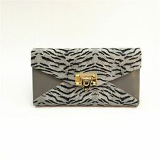 Ladies Women Zebra Envelope Faux Fur Purse Animal Long Wallet Coin Large Grey
