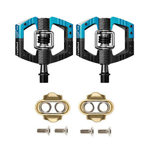 Crankbrothers Mallet Enduro MTB Bike Pedals Pair, Black/Blue, Includes Cleats
