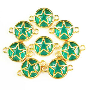 12Pcs Wrapped Green Titanium Crystal Round Gold Star Connector Pendant 1758SJ
