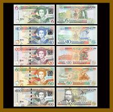 East Caribbean 5 10 20 50 100 Dollars (5 Pcs Set), 2008-15 P-47/52b/53b/54b/55b