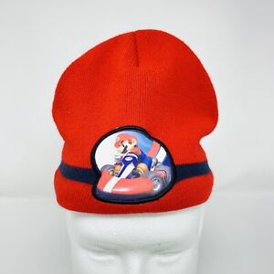 Nintendo Youth Mario Kart Red Winter Beanie Cap Hat Logo Spellout Official