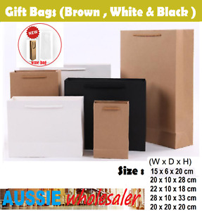 Au Kraft Paper Bags 50 x Bulk, Gift Shopping Carry Craft Brown Bag with Handles