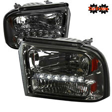 05-07 Ford F250 F350 Super Duty Smoked Tinted Headlights Amber Reflector LED DRL