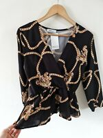 MIRA & CO MADE IN ITALY BLACK GOLD BAROQUE PRINT BLOUSE SIZE MEDIUM