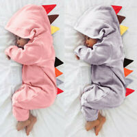 Newborn Baby Boys Girls Dinosaur Zipper Hooded Romper Jumpsuit Outfits Clothes