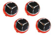 Set of 4 Raised Center Wheel Caps for Mercedes Benz AMG Models Red Black Chrome