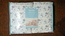Till You Cotton Breathable 4pc Crib Bumper / New / Happy Whale Theme Pattern