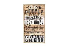"Young's Wood Wall Sign, 31.5"" - ""THINK DEEPLY SPEAK GENTLY LOVE MUCH LAUGH.."""