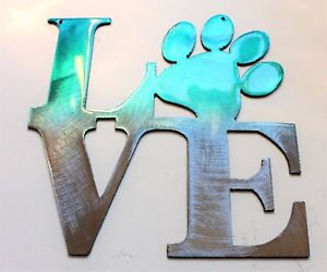 "LOVE My Pet  Teal Tainted Home Wall Decor 6"" x 6"""