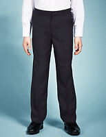 BOYS NAVY BLUE FLAT FRONT SCHOOL TROUSERS FROM M&S AGE 3-4 OR 4-5 BNWT